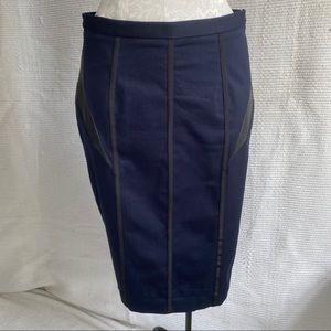 Rag & Bone 10 Cotton Leather Pencil Skirt Navy